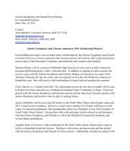 Glacier Symphony and Chorale announces 2011 Scholarship Winners