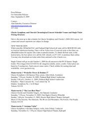 Glacier Symphony and Chorale Chronological Concert Schedule ...