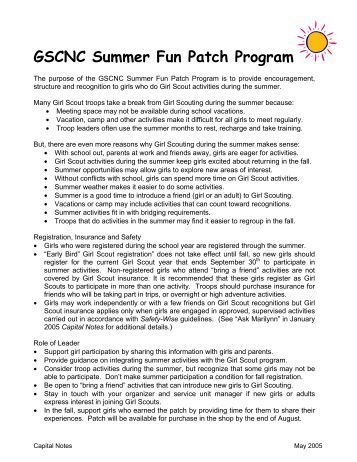 GSCNC Summer Fun Patch Program - Girl Scout Council of the ...