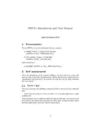 REVS - Installation and User Manual - Distributed Systems Group ...