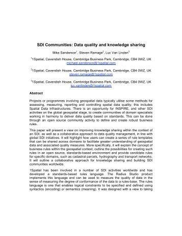 SDI Communities - Global Spatial Data Infrastructure Association
