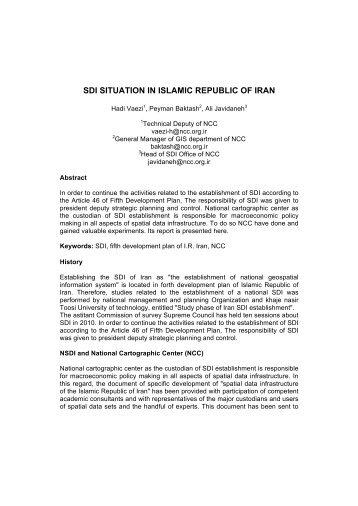 sdi situation in islamic republic of iran - Global Spatial Data ...