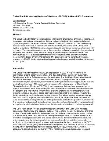 (GEOSS): A Global SDI Framework - Global Spatial Data ...