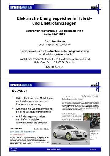 Elektrische Energiespeicher in Hybrid- und ... - TU Berlin