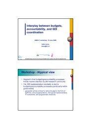 Interplay between budgets, accountability, and SDI coordination ...