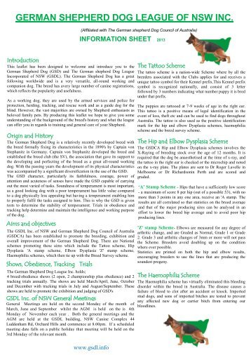 gsdl information sheet german shepherd dog league nsw inc