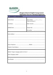 Glasgow School of English Young Learner Application Form for ...