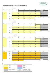 General English AM 15 & PM 7.5 Calendar 2013