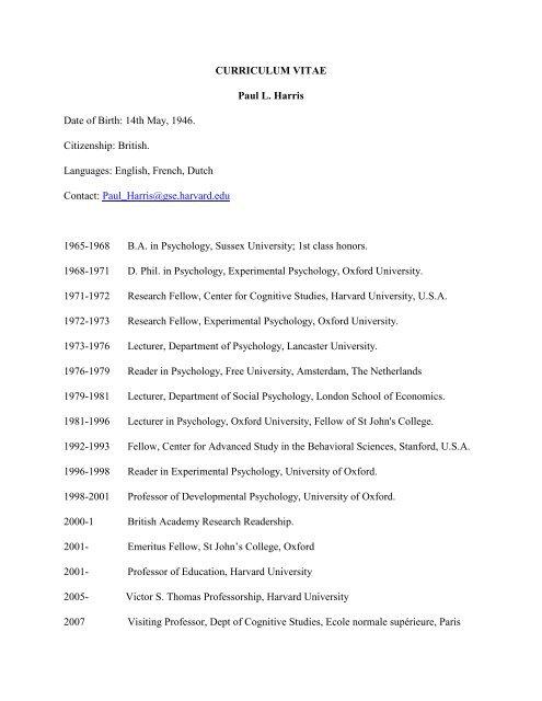 Curriculum Vitae Paul L Harris Harvard Graduate School Of