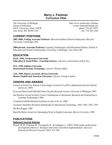 Fishman CV 12-07 - Harvard Graduate School of Education ...
