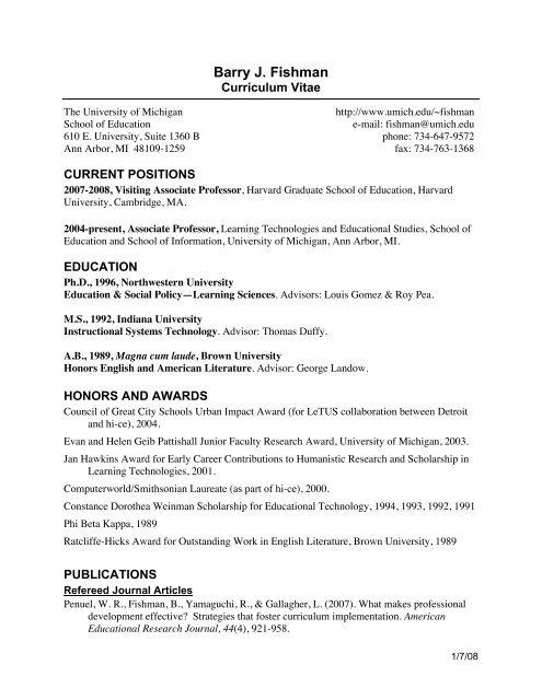 Fishman CV 12-07 - Harvard Graduate School of Education
