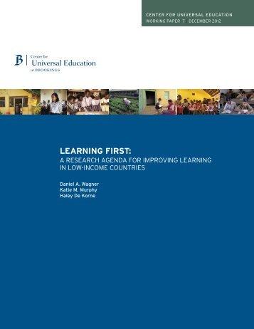 LEARNING FIRST: - Penn GSE - University of Pennsylvania