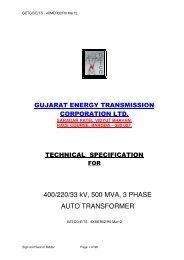 Technical specification - Gujarat Electricity Board
