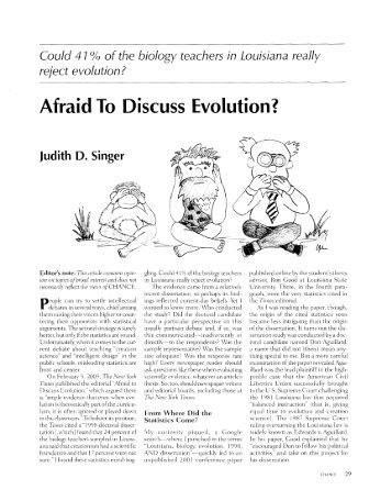 Afraid To Discuss Evolution?