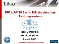 DB2 LUW 10.5 with BLU Acceleration - GSE Belux