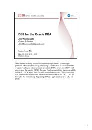 DB2 for the ORACLE DBA - GSE Belux