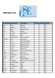 Attendee List - GSE Belux