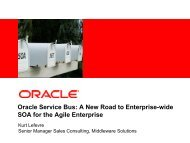 Oracle Service Bus: A New Road to Enterprise-wide ... - GSE Belux