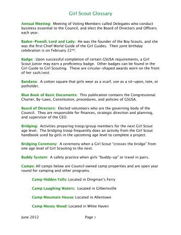 Girl Scout Glossary