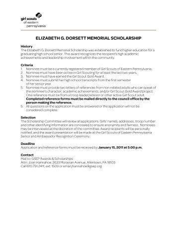elizabeth g. dorsett memorial scholarship - Girl Scouts of Eastern ...