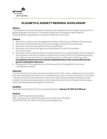 elizabeth g. dorsett memorial scholarship - Girl Scouts of Eastern ...