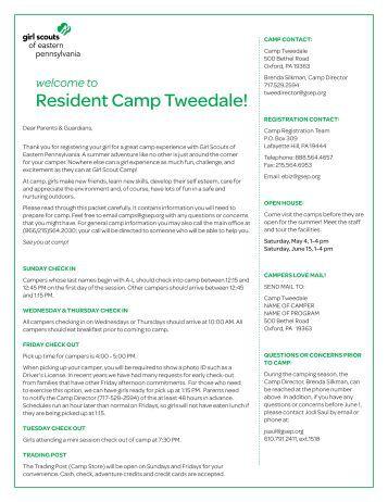 Tweedale Overnight - Girl Scouts of Eastern Pennsylvania