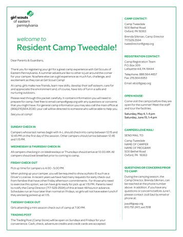 Tweedale Overnight - Girl Scouts of Eastern Pennsylvania