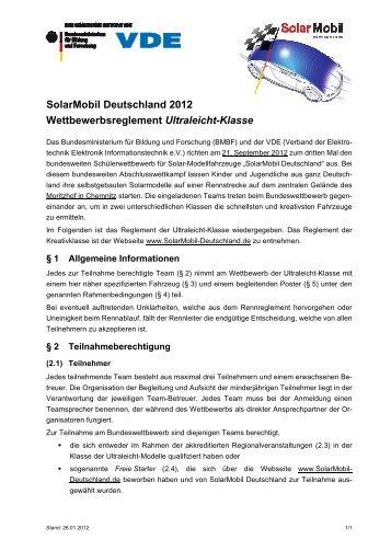 SolarMobil Deutschland 2012 Wettbewerbsreglement Ultraleicht ...