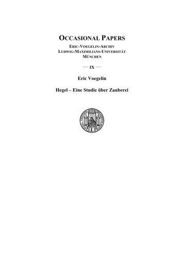 Eric Voegelin: Hegel - Geschwister-Scholl-Institut für ...