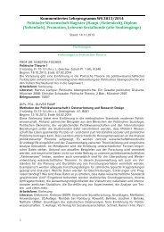 KVV Politische Wissenschaft Magister/Diplom/altes Lehramt WS ...