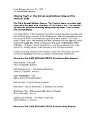 Press Release October 26, 2009 - Gotham Screen International Film ...