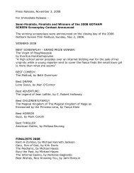Press Release, November 3, 2008 - Gotham Screen International ...