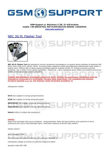 NEC 3G PL Flasher Tool - GSM-Support