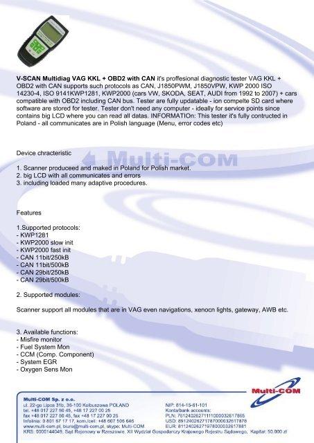 V-SCAN Multidiag VAG KKL + OBD2 with CAN it's proffesional