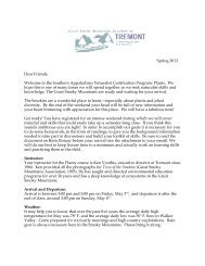 Welcome Letter - Great Smoky Mountains Institute at Tremont