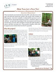 Summary of findings - Great Smoky Mountains Institute at Tremont