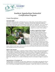Course Descriptions - Great Smoky Mountains Institute at Tremont