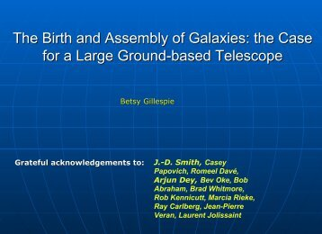 The Birth and Assembly of Galaxies: the Case for a Large Ground ...