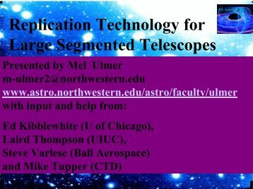 Replication Technology for Large Segmented Telescopes