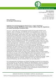 Publikation einer Forschungsgruppe der Med Uni ... - G´sund Online
