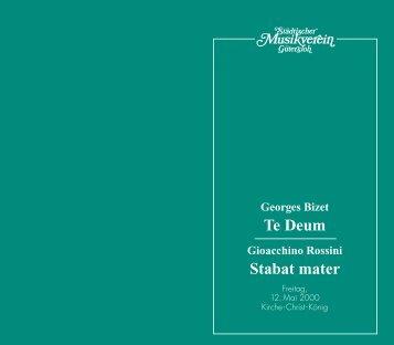 Te Deum Stabat mater - Städtischer Musikverein Gütersloh eV