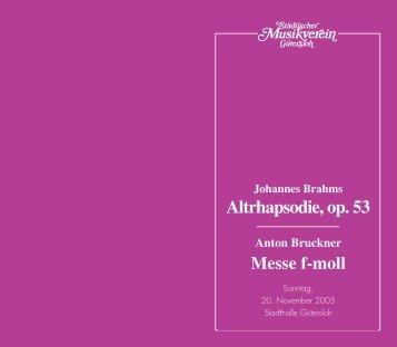 Altrhapsodie, op. 53 - Städtischer Musikverein Gütersloh eV