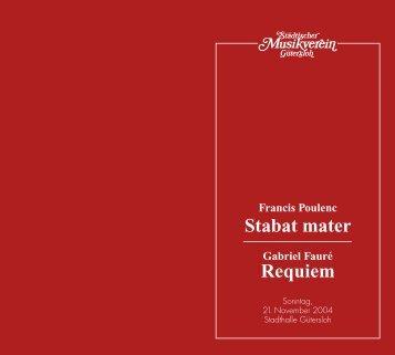 Stabat mater Requiem - Städtischer Musikverein Gütersloh eV