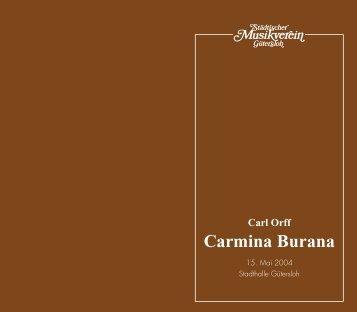 Carl Orff Carmina Burana - Städtischer Musikverein Gütersloh eV