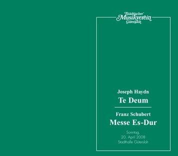 Te Deum Messe Es-Dur - Städtischer Musikverein Gütersloh eV
