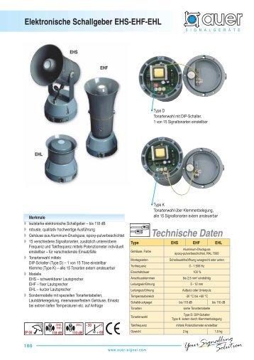 Technische Daten Elektronische Schallgeber EHS-EHF-EHL