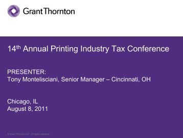 14th Annual Printing Industry Tax Conference - Grant Thornton LLP
