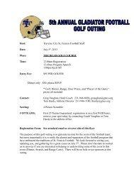 Gladiator Football Summer Golf Outing Registration Form