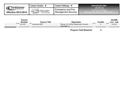 30-531-6 Advanced EMT Curriculum Sheet 2013-14 pdf - Gateway