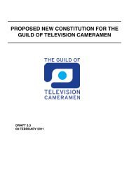 proposed new constitution for the guild of television cameramen